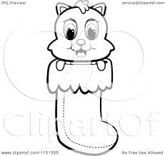 cartoon clipart of a black and white cute christmas kitty in a
