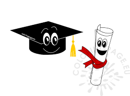 graduation cap and diploma cartoon coloring page