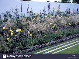Kies Garten Gelb Blau Weiße Und Gelbe Zeitgenössische Garten Stockfoto Bild