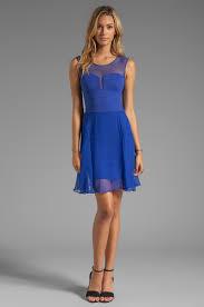 bcbgmaxazria sheer combo dress in blue in blue lyst