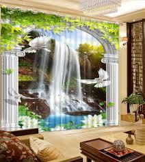 waterfall home decor luxury european modern nature scenery waterfall custom curtain