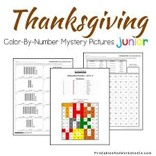 place value mystery number thanksgiving place value color by number printables worksheets