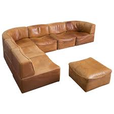 Aged Leather Sofa Modular De Sede Sofa In Original Patinated Leather With Seven