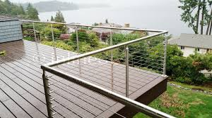 stainless steel railing systems round middle post for cable