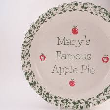 apple pie dish personalized pie plate ceramic apple pie