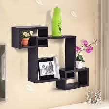 sl home decor amazon com black intersecting 3 rect boxe floating shelf wall