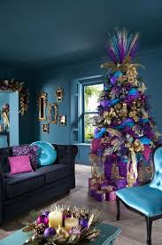 Red Gold And Purple Christmas Tree - accessories chic look of cool christmas tree ideas using gold