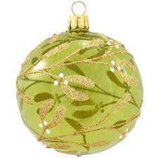 mistletoe on green glass transparent ornament 3 25 made in