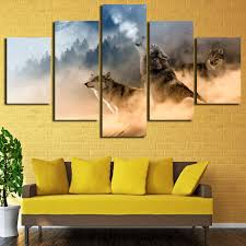 wolf home decor 5 panels large hd printed oil painting wolf pack canvas print art