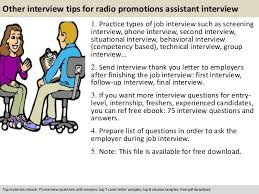 radio promotions assistant interview questions