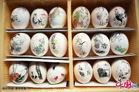 painted eggshells arts on eggshell from an 81 year china org cn
