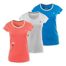 Yellow And White Flag Babolat Women U0027s Core Flag Club Tennis Tee In White Fluro Red And