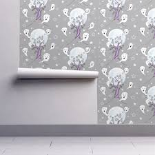 creepy crimson sky halloween background cute ghosts enjoying halloween wallpaper uzumakijo spoonflower