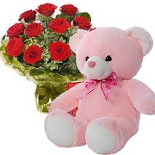 teddy delivery online 96 roses and teddy delivery at low price