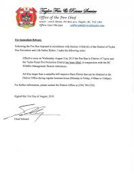 Bc Wildfire Prevention by Fire Ban Lifted August 31 2016 District Of Taylor