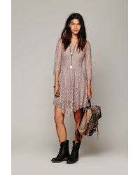 free people floral mesh lace dress in gray lyst