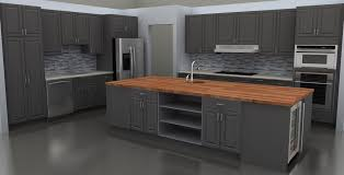 kitchen gray butcher block island with storage and sink butcher