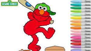 sesame street coloring book elmo playing baseball episode