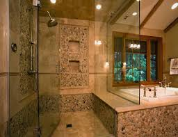 bathroom cheerful designs ideas with natural stone bathroom tiles full size of bathroom decoration ideas captivating design using rectangular glass shower doors and brown tile
