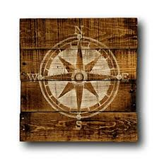 wood compass wall hanging nautical nursery pallet