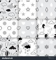 set scandinavian trend seamless pattern minimalistic stock vector