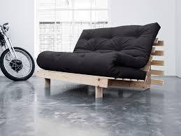 canape convertible futon banquette convertible en bois avec matelas futon roots gris