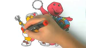 colouring barney u0026 friends for kids learning paint with colored