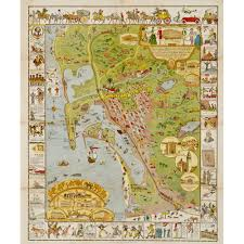 Map Of San Diego by 2013 Re Print Of Jo Mora U0027s 1928