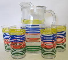 vintage rainbow striped pitcher u0026 glasses set