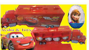 mcqueen disney cars mack truck hauler rust eze surprise egg disney