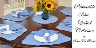 Table Runners For Round Tables Sweet Pea Linens Periwinkle Blue Solid Quilted Placemats For