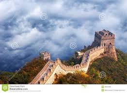 Wall Scenes by Great Wall Of China Travel Stormy Sky Clouds Royalty Free Stock