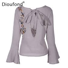 linen blouses dioufond linen embroidery blouse sleeve 2017 shirts