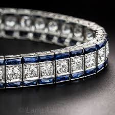 bracelet diamond sapphire images Art deco platinum diamond and sapphire bracelet jpg