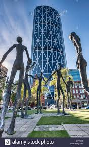 downtown calgary the bow city tallest building on right view the family of man sculptures by mario armengol the bow calgary tallest office
