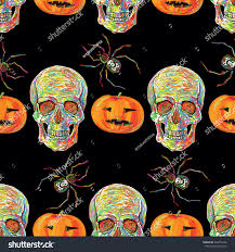 halloween background skulls seamless halloween pattern skulls spider pumpkin stock vector