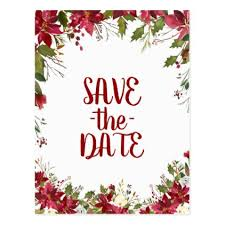 christmas holiday poinsettia wedding save the date postcard