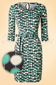 15551 by 60s Tulip Bangle Dress With 3 4 Sleeve In Holly Green