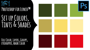 photoshop for lunch set up colors tints and shades for working