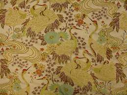 Houston Upholstery Fabric Koi Fish Tropical Tapestry Coral Yellow Aqua Ivory Upholstery