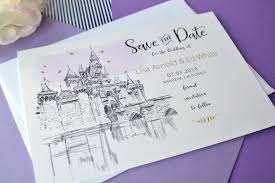 wedding save the date cards disney fairytale wedding skyline save the date cards