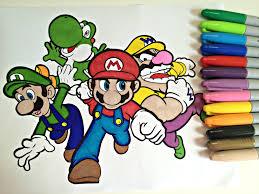 coloring mario family mario luigi wario u0026 yoshi colorfulcat