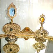 Vanity Trays For Perfume Large Jeweled Globe Ormolu Vanity Perfume Tray With Gallery From