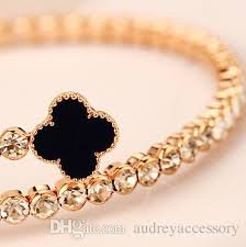 black bracelet women images Black lucky clover bracelet women elegant diamond bracelets gold jpg