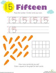 tracing numbers u0026 counting 15 worksheet education com