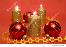 holidays gold candles and glass balls stock photo i1537396