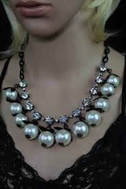chunky crystal necklace sets images Chunky black chain rhinestone faux pearl flower necklace w JPG