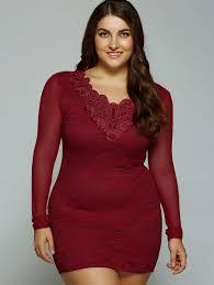 deep red 3xl plus size mesh insert short bodycon dress