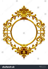 frame baroque ornaments gold pictures mirror stock illustration