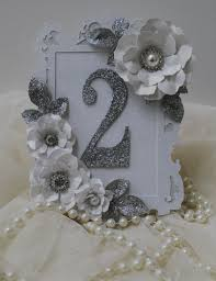 silver and white table number glitter table numbers framed table
